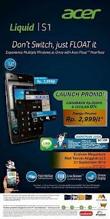 Acer Liquid S1 Launch Promo Harga Rp 2.999.000