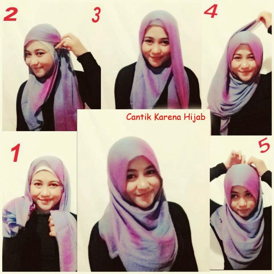 Cara memakai model jilbab pasmina bahan kaos brokat bahan ...