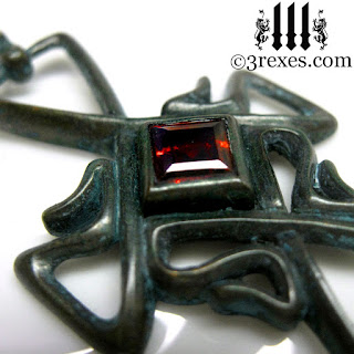 Bohemian Celtic Cross pendant with Gothic garnet stone