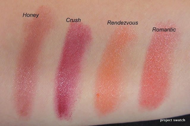 Revlon Balm Stain in Swatches Honey, Crush, Rendezvous, Romantic
