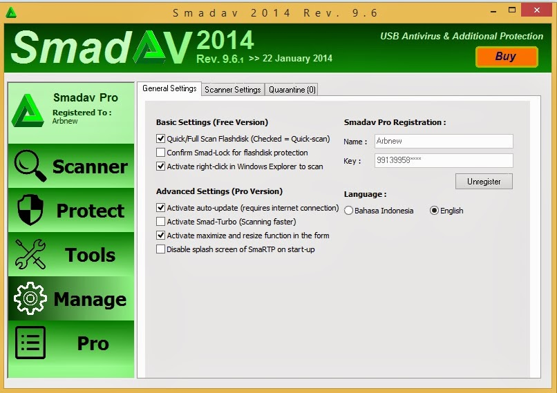Download SmadAV Pro 9.6.1 Update Terbaru + Serial Key