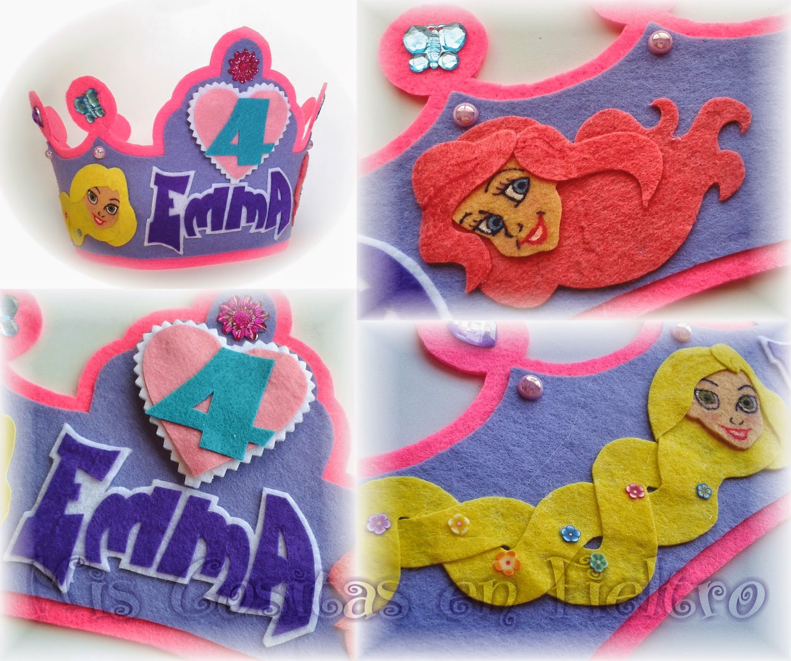 corona de fieltro, corona de cumpleaños, princesas disney, rapunzel, ariel, sirenita, emma