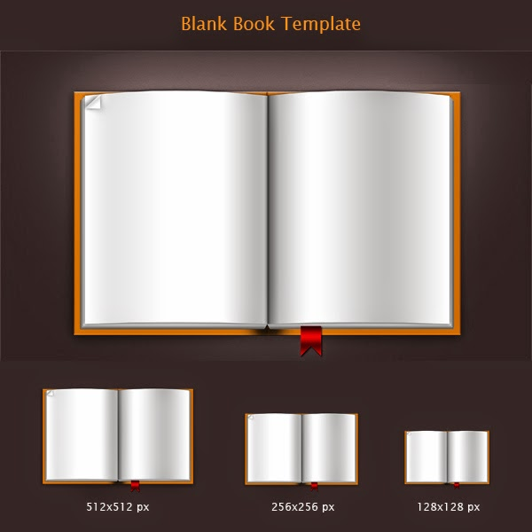Blank Book Template PSD Icons