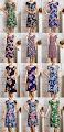 Plus Size Rayon Silk Cotton Back Drawstring Knee Length Dress