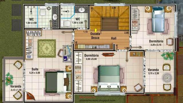 Plano de casa de 156 m2 planos de casas gratis y for Plano habitacion 3d