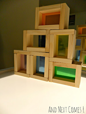 Building with DIY color blocks on the light table from And Next Comes L