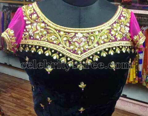 Velvet Net Blouse with Maggam Work