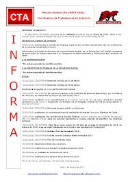 C.T.A. INFORMA, LO REALIZADO EN ENERO DE 2018