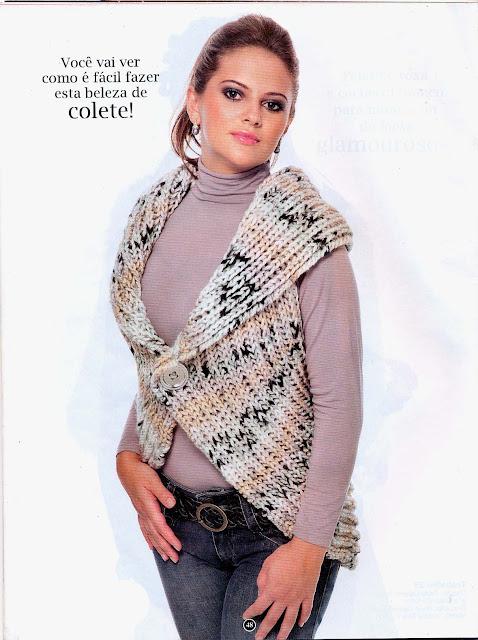 Colete redondo em tricot com receita