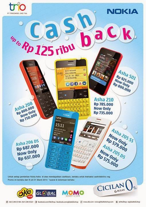 Nokia Asha CashBack Hingga Rp 125.000