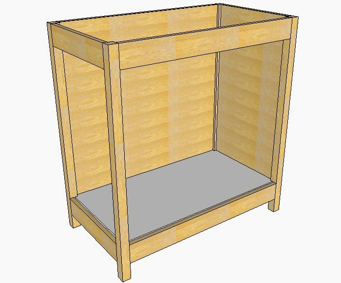 Cut To Size The Bottom Of The Cabinet And Tack In Place With Glue And Brads.