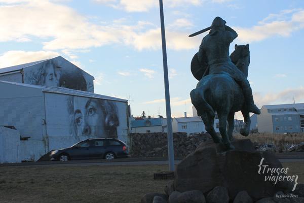 viking statue and graffiti reykjavik