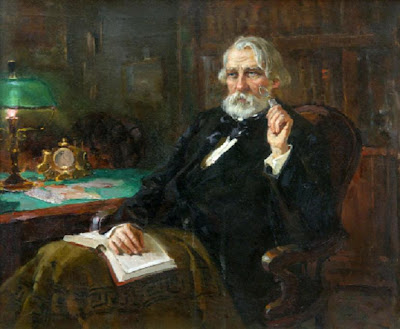 Ivan Turgenev sits in beautiful library with a book on his lap and staring out into the distance.