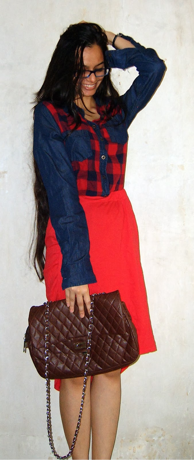 denim shirt, tartan shirt, plaid checkered shirt, red skirt, dipped hem skirt, street shopping, look for less