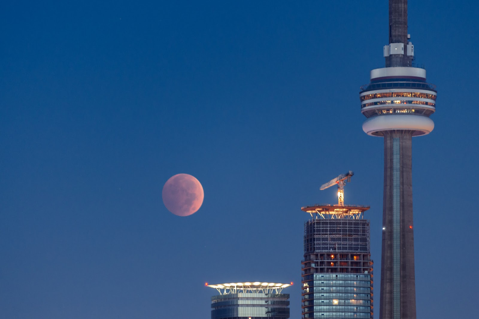 Mặt Trăng màu đỏ trên tháp CN của thành phố Toronto ở Ontario, Canada. Tác giả : Michael Muraz.