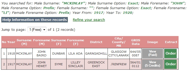 "ScotlandsPeople.gov.uk search results for statutory marriages for John McKinlay, wife's forename starting with ""Li"", with a year range between 1917 and 1920."