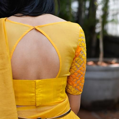 sexy yellow saree back