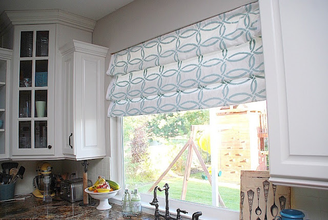 Stenciled Faux Roman Shades {tutorial} -- Kitchen Sneak Peek ...