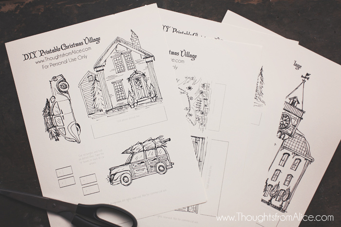 to create my own version i used some drawing paper a black sharpie marker and inspiration from old books christmas cards and photographs of cute houses - Printable Drawing Paper
