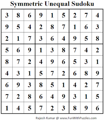 Symmetric Unequal Sudoku (Fun With Sudoku #80) Solution