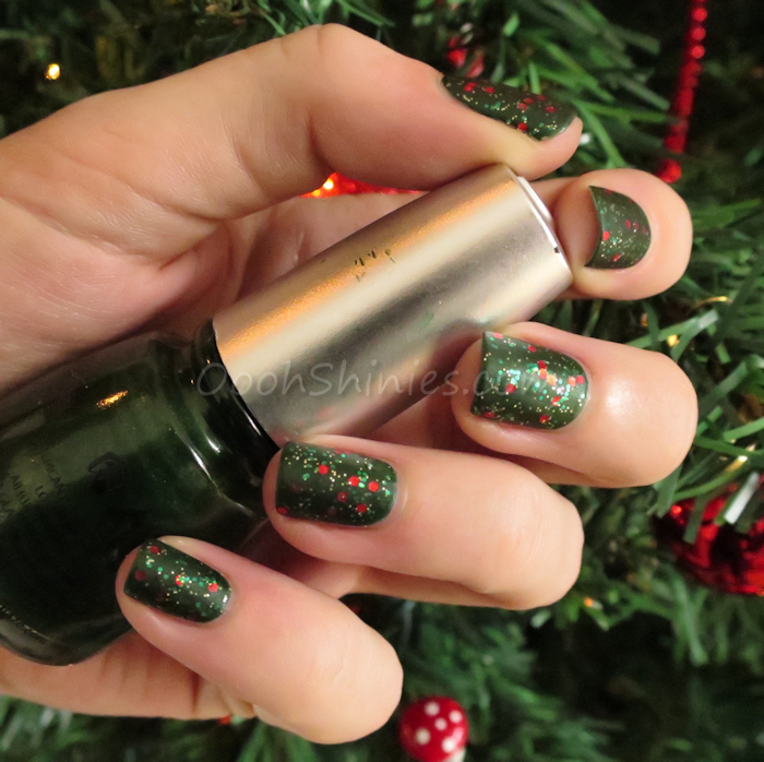 China Glaze Jolly Holly with China Glaze Party Hearty and BornPrettyStore Super Matte