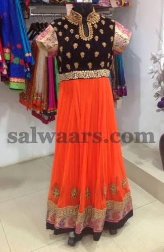 Orange Black Velvet Salwar