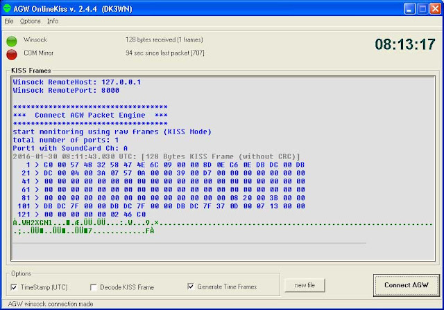 AggieSat4 beacon decode with HS_Soundmodem and AGW Online kiss