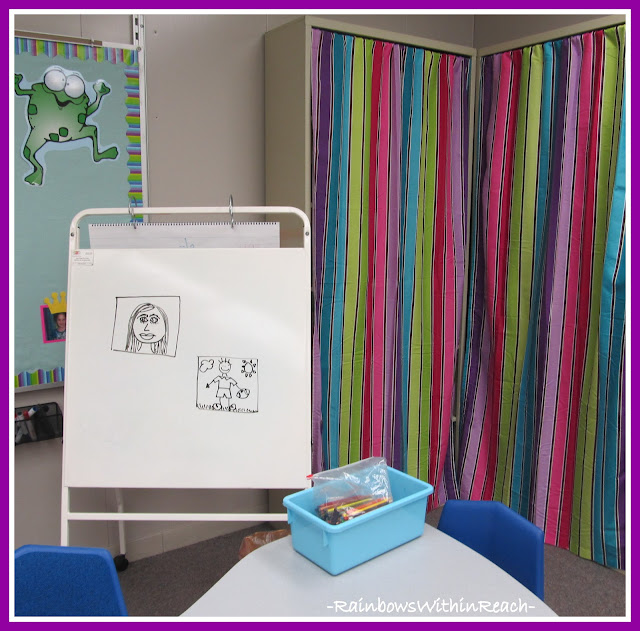 "Photo of: Classroom Space using Fabric Curtains to 'Hide"" Teaching Materials"