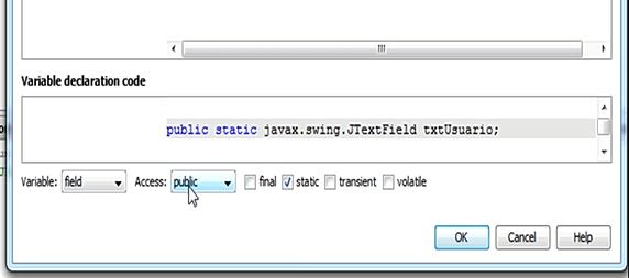 Configurando las propiedades de acceso al componente JTextField