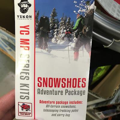Yukon Charlie Snowshoe Kit includes snowshoes, trekking poles, bag