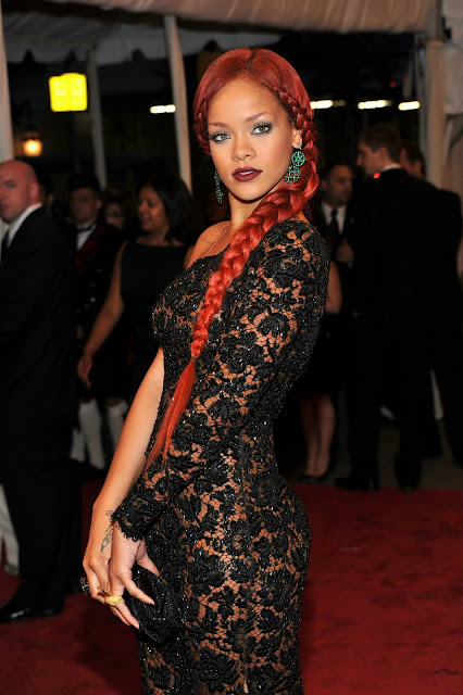 Rihanna Red Braid Pics At 2011 MET COSTUME INSTITUTE GALA
