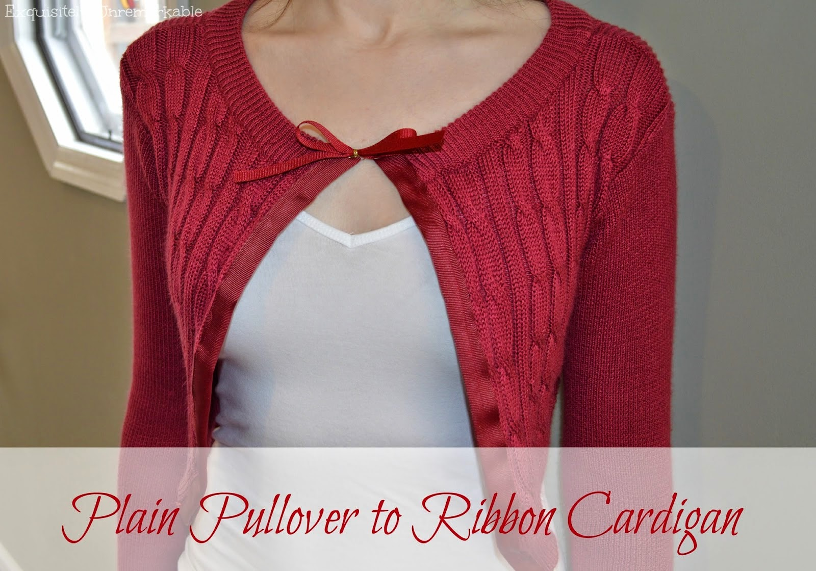 Pullover to ribbon cardigan sweater