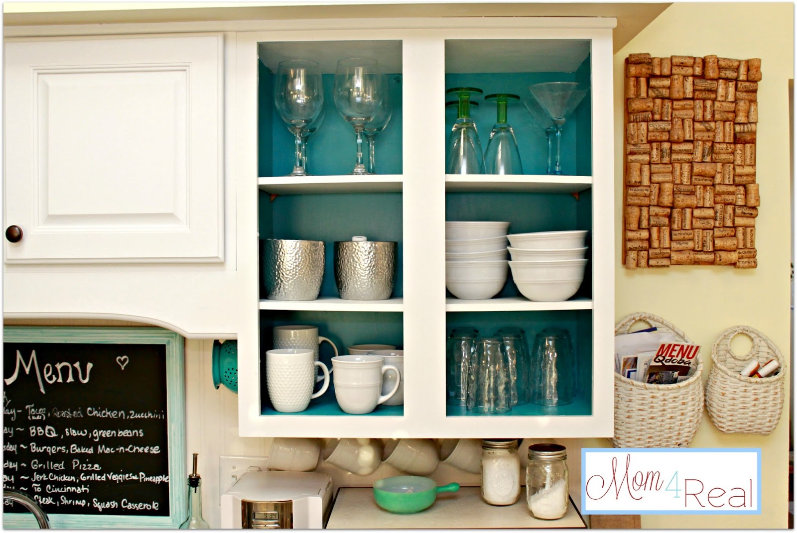 Open Cabinets With White, Aqua, Lime Green, U0026 Silver Accents