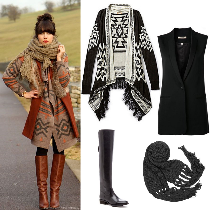 Aztec Print Cardigan, Fall Layering Ideas, Fall Layering Outfits,