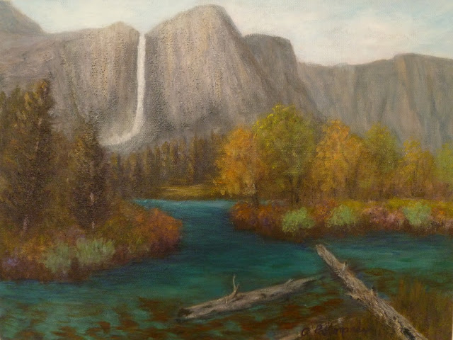 Landscape Autumn painting of a river and Yosemite Falls