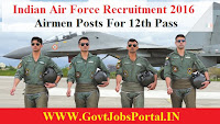 INDIAN AIR FORCE RECRUITMENT 2016 FOR VARIOUS AIRMEN POSTS