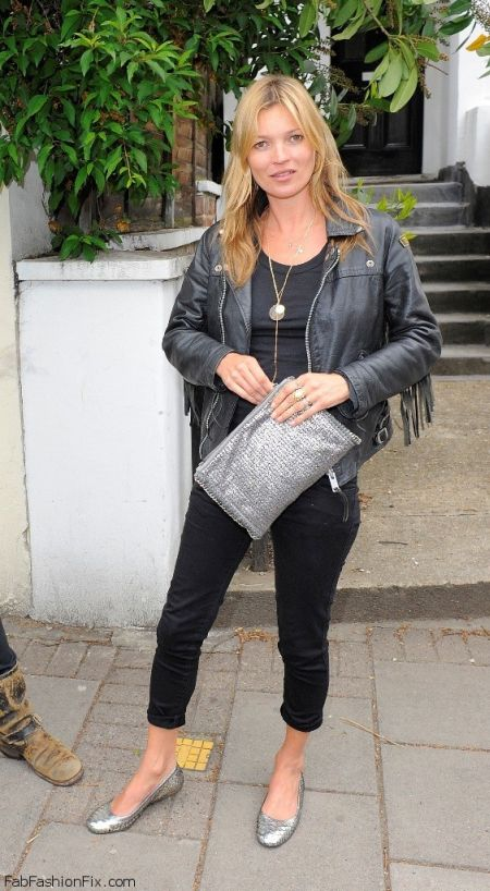 Kate Moss stylish street style black fringe biker jacket outfit