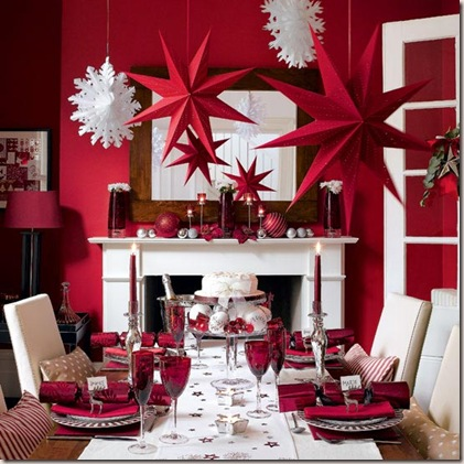 love that this dining room stays true to inspiration done entirely in red and white its a fantastic burst of color perfect for christmas - Christmas Decoration Theme Ideas