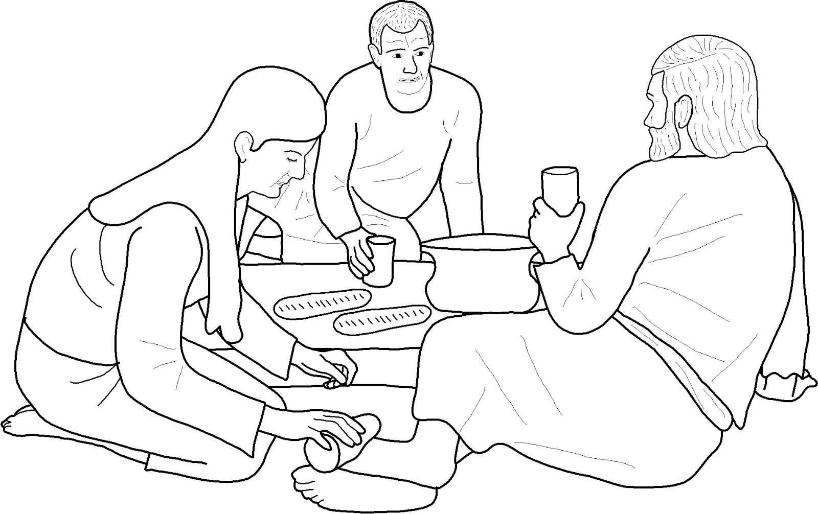 Mary Anoints Jesus Coloring Page Pictures to Pin on Pinterest