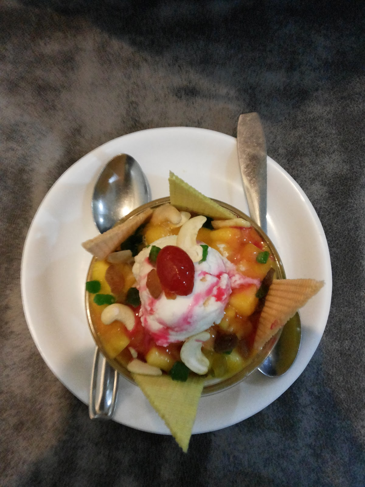 Fruit Salad with Ice-Cream at Shree Krishna Palace, best lunch places near Pune Railway Station