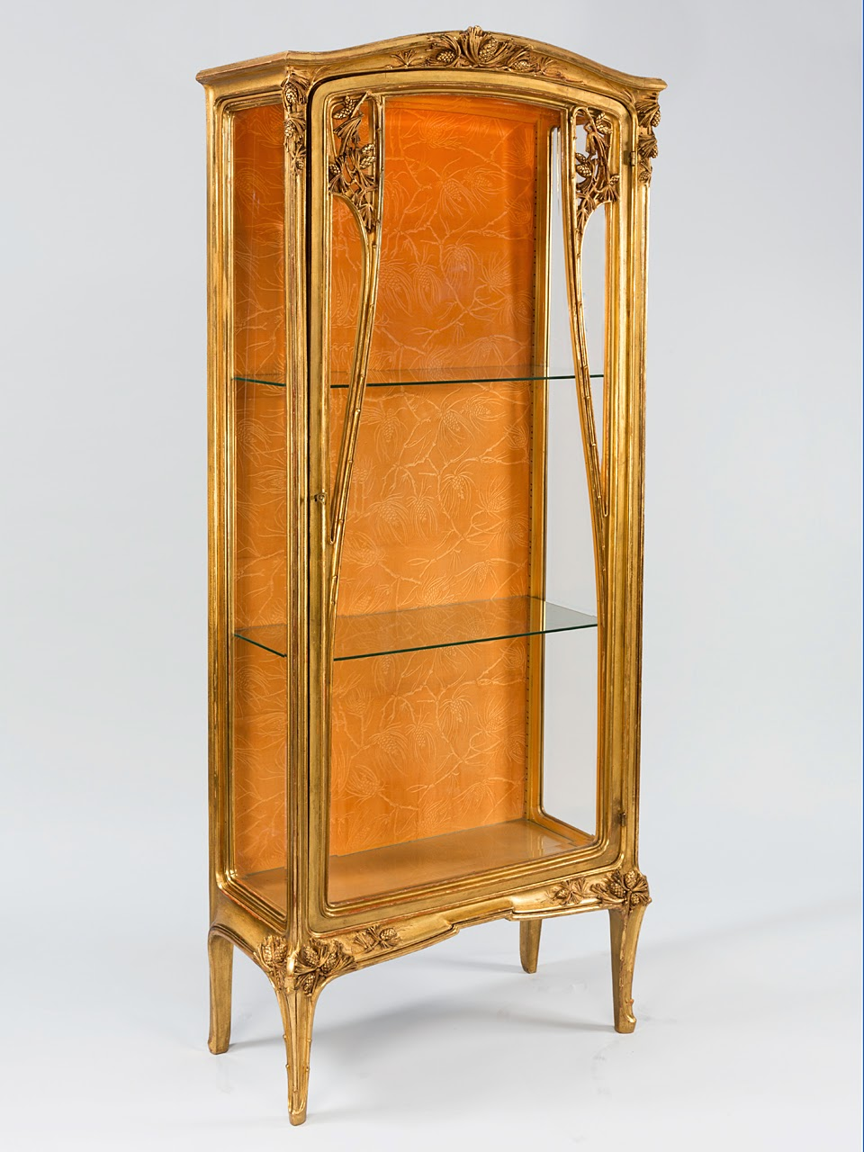 French Art Nouveau gilwood and glass vitrine by Majorelle