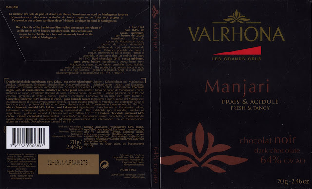 tablette de chocolat noir dégustation valrhona les grands crus manjari 64