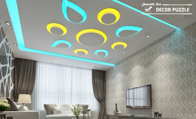 pop design for room colored led ceiling lights for living room