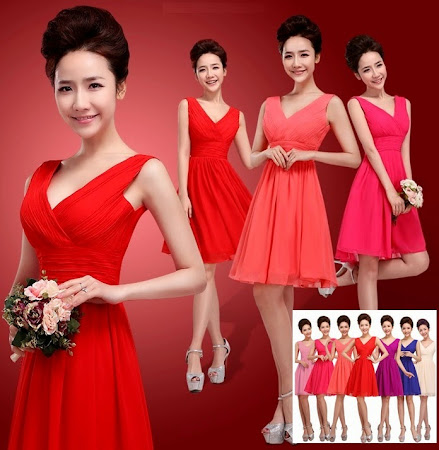2014 New Release One-Design Multi-Color V-Neck Midi Bridesmaids Dress