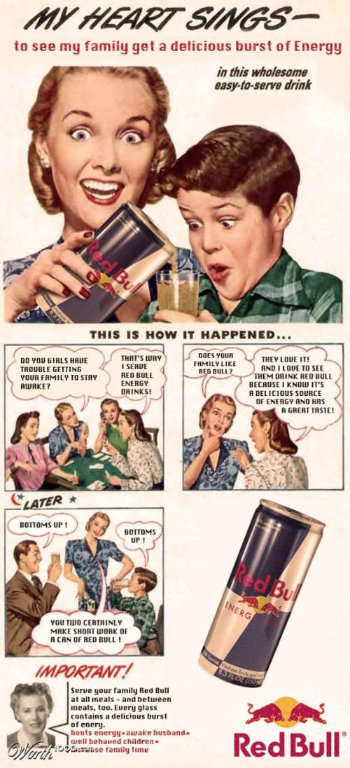 anúncios vintage - produtos modernos - Red Bull