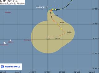 Météo cyclone Réunion:trajectoire de la tempête Annabelle