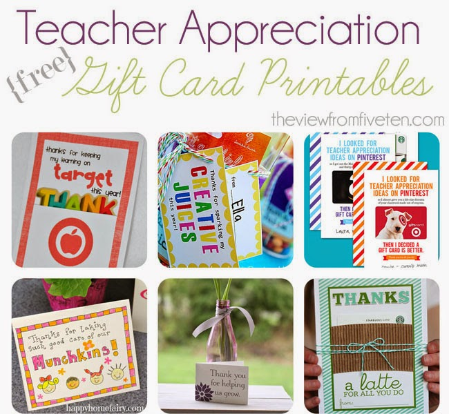 Teacher Appreciation Gift Card Printables