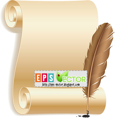 [Vector] - Paper scroll and feather