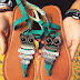 Boho Repurposed Braided Owl Sandals Turquoise