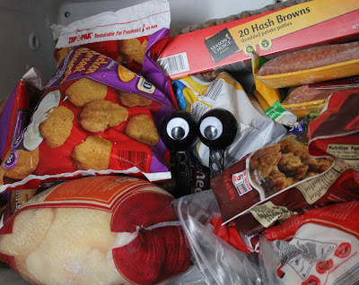googly eyes hiding in the freezer